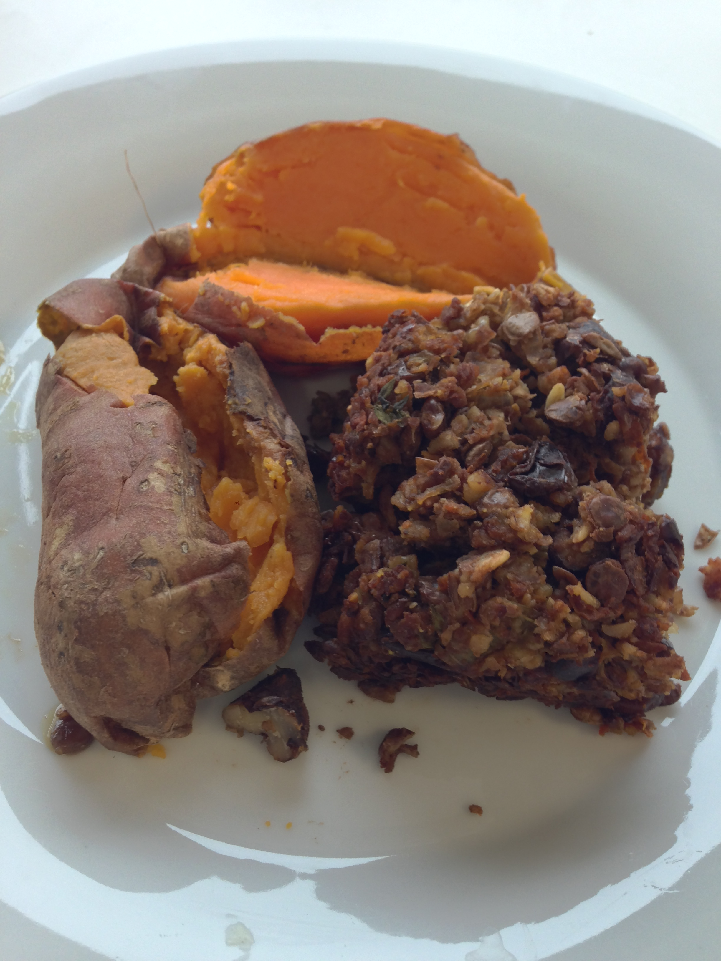 lentil walnut loaf leftovers with two mini baked sweet potatoes (not ...